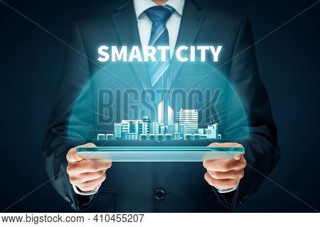 Smart City Concept - Communication Technology (ict) And Internet Of Things (iot) Technology Integrat