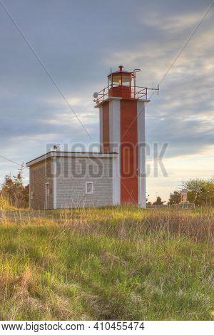 A Vertical Of Point Prim Lighthouse Near Digby, Nova Scotia