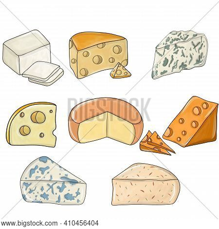 Cheese Set Detailed. Different Types Of Cheese Pieces, Popular Kind Of Cheese. Assortment Of Cheeses