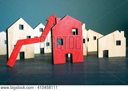 Invest In Real Estate Concept. Home And Rising Arrow.
