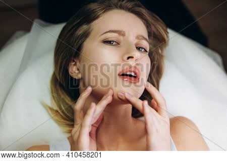 Procedure For Cleaning Skin With Steel Tool From Blackheads And Acne. Deep Cleansing Of The Female F