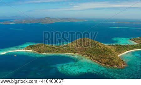 Tropical Island With Blue Lagoon, Coral Reef And Sandy Beach. Ditaytayan, Palawan, Philippines. Isla
