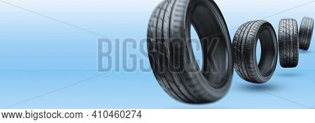 Summer Tires Are Rolling. Blue Background Mockup. To Advertise A Tire Store Or Business