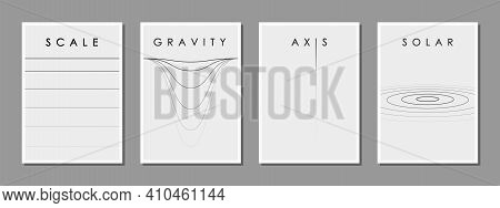Set Of Minimalist Black And White Design For The Cover Of A Scientific Conference And Other Events,