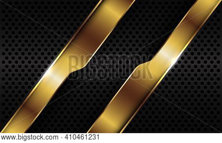Abstract Gold Geometric Line Slash Overlap On Black Metallic Circle Mesh Design Modern Luxury Futuri