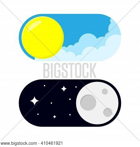 Vector Day Night Switch. Mobile App Interface Design Concept. Vector Illustration Of Day And Night