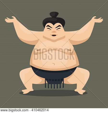 Sumo Wrestler Front View. Japan Character In Cartoon Style.
