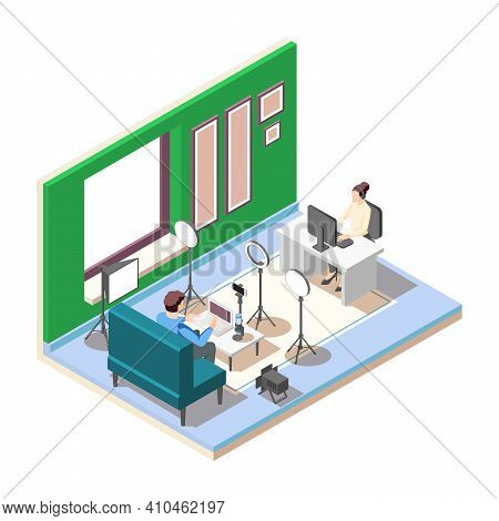 Vlogger Streaming Video In Studio With Professional Equipment Isometric Composition On White Backgro