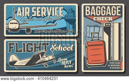 Air Service, Flight School And Baggage Check Retro Vector Banners. Vintage And Modern Planes Flying