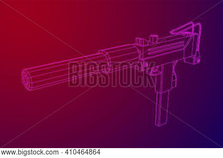Submachine Gun Modern Firearms Pistol With Silencer. Wireframe Low Poly Mesh Vector Illustration.