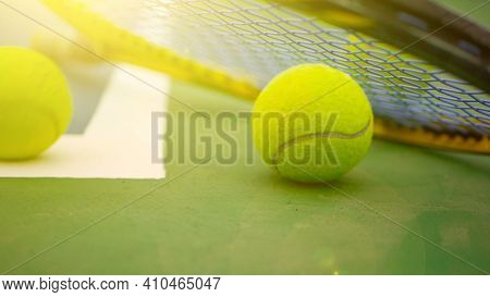 Close Up Of Tennis Equipment On The Court. Sport, Recreation Concept.