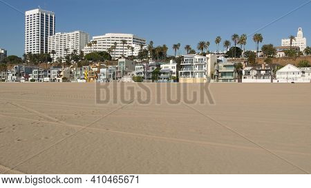 California Summertime Beach Aesthetic, Sunny Blue Sky, Sand And Many Different Beachfront Weekend Ho