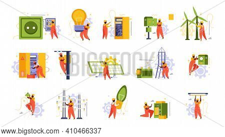 Electricity And Lighting Flat Recolor Set Of Isolated Icons With Domestic Sockets Light Bulbs And Wo