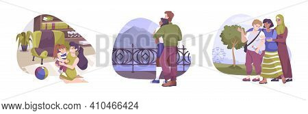 Three Isolated Hug Flat Composition Set With Mother And Child Lovers And Three Friends Hugs Vector I