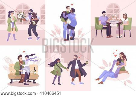 Flat Romantic Couple Composition Icon Set With Different Types Of Romantic Pastime And Dates Vector
