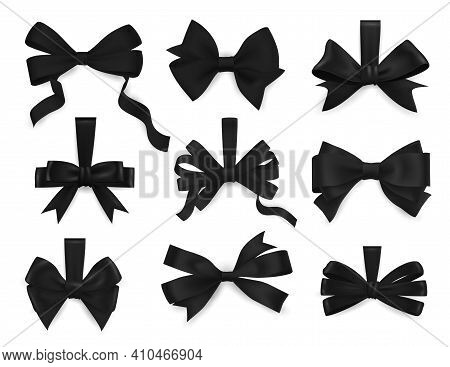Mourning Bows And Funeral Black Ribbons 3d Realistic Vector Set. Four And Six Loop Bows With Tale, B