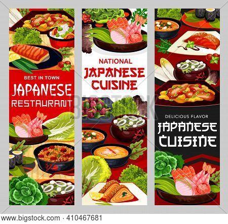 Japanese Cuisine Food Japan Restaurant Meal Dishes, Vector Menu Banners. Japanese Cuisine Seafood, N