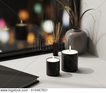 Black Scented Candle With Aroma Reed Diffuser And Vase With Blured Night City Lights On Background,
