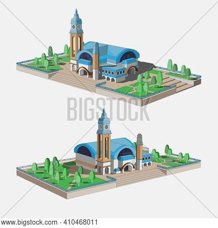 Set With A Beautiful 3d Model Of A Building With A Blue Roof. Two Beautiful Views For Infographic. S