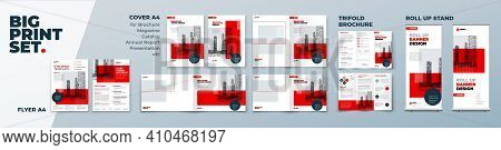 Red Corporate Identity Print Template Set Of Brochure Cover, Flyer, Tri Fold, Report, Catalog, Roll