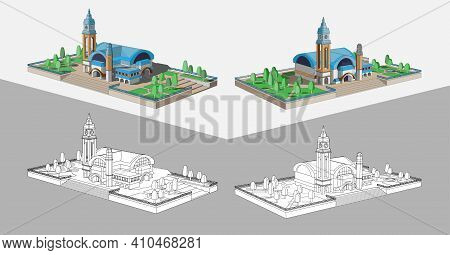 Vector Coloring Page With Beautiful 3d Model Of A Building With A Blue Roof. Two Beautiful Views For