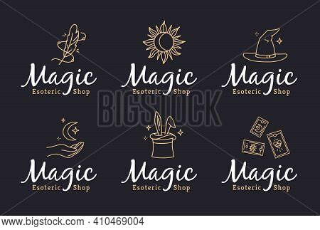 Magic Logos Set In Doodle Style For An Esoteric Shop. Vector Linear Icons With Witchcraft Symbols, H