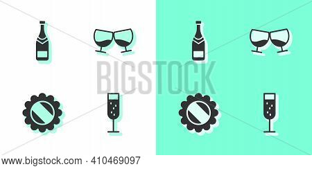 Set Glass Of Champagne, Champagne Bottle, Bottle Cap And Cognac Or Brandy Icon. Vector