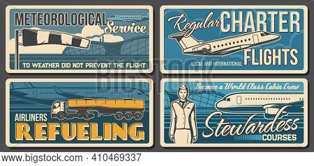Airport, Aviation Retro Vector Banners. Meteorological Service, Airplane Regular Charter Flights, Ai