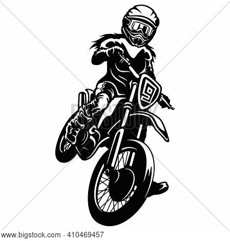 Motocross Motorcycle - Enduro, Freestyle - Motocross Extreme Sport, Freestyle Girl - Clipart, Vector