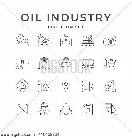 Set Line Icons Of Oil Industry Isolated On White. Rig Or Derrick, Railway Tank, Transportation Pipe,