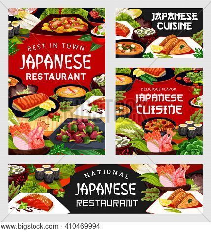 Japanese Cuisine Food Menu, Japan Meals And Dishes, Vector Seafood, Udon Noodles And Fish. Japanese