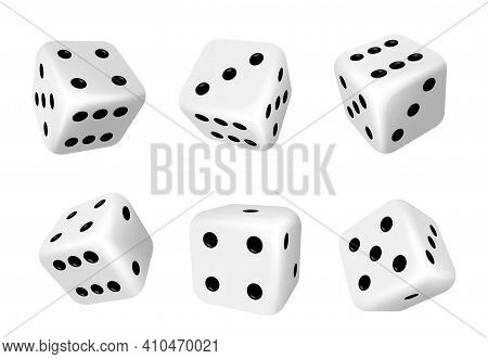 Dice Isolated 3d Objects Of Vector Gambling Games Design, Casino, Craps And Poker, Tabletop Or Board