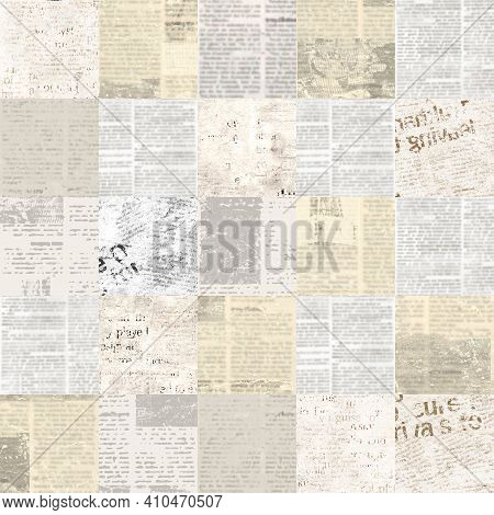 Newspaper Paper Grunge Newsprint Patchwork Seamless Pattern. Trendy Imitation Sewn Pieces Of Newspap