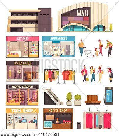Shopping Mall Icon Set With Mall Gift Shop Fashion Boutique Book Store Tech Shop And Coffee Descript