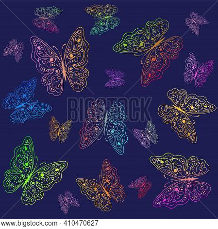 Seamless Pattern With Rainbow Multicolored Butterflies On The Purple Background. Vector Illustration