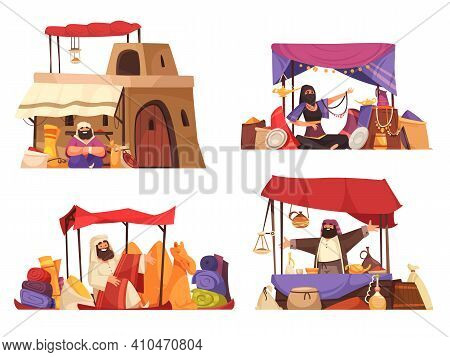 Outdoors Oriental Bazaar 2x2 Cartoon Compositions With Islamic People Selling Eastern Souvenirs Carp