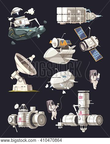 Space Exploration Equipment Set Of International Space Station Satellite Space Ship Radio Telescope
