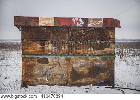 Bila Tserkva, Ukraine, February, 2018: Old Abandoned Coca-cola Shop In The Winter Field On The Outsk