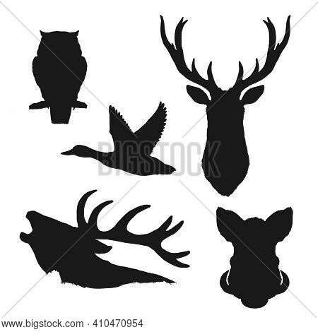 Wild Animal And Bird Isolated Black Silhouettes Of Vector Hunting Sport And Wildlife Design. Deer He