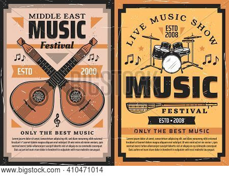 Musical Instrument Vector Posters Of Music Festival, Live Concert And Folk Fest. Drum, Mandolins And