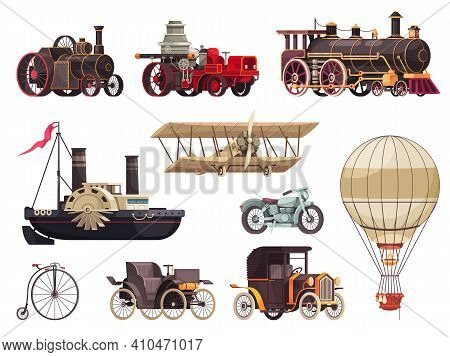 Vintage Passenger Transport Set With Isolated Icons Of Steam Locomotives Images Of Aerostats Cars An