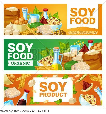Organic Soy Food, Vegetarian Products Banner. Soy Meat, Sauce And Flour, Milk, Oil And Spouts, Miso