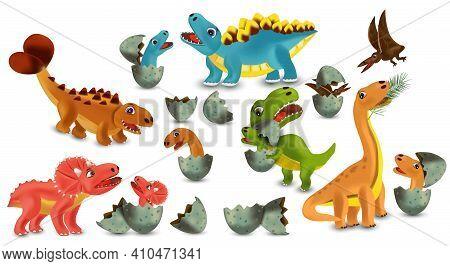 Dinosaurs Tyrannosaurus, Brachiosaurus, Pterodactyl, Triceratops, Stegosaurus Cartoon Character. Din
