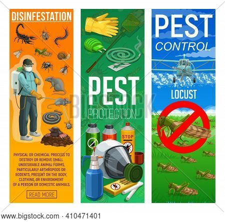 Deratization And Disinfection, Rodents And Insects Pests Control Banners. Pest Control Worker With I