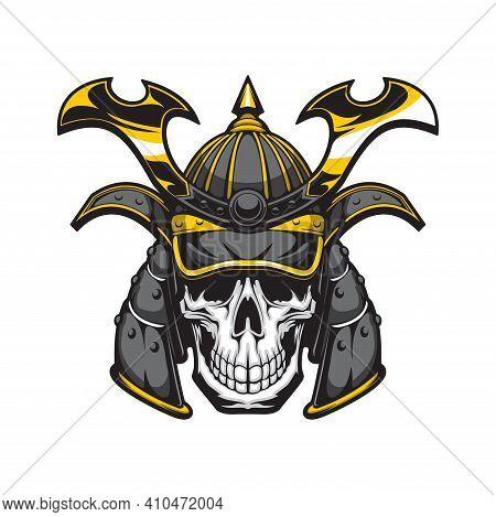 Samurai Skull With Japanese Warrior Helmet Vector Design Of Cartoon Mascot, Tattoo Or T-shirt Print.
