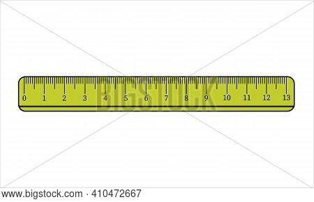 Yellow Ruler Icon. Simple Illustration Of Ruler Vector Icon For Web Design Isolated On White Backgro