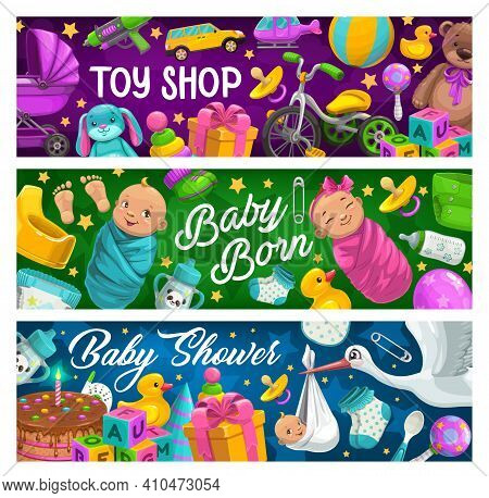 Children Products And Toys Shop Banners. Happy Infant Boy And Girl Swaddled In Blue And Pink Napkin,