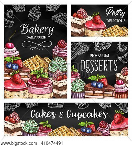 Cakes And Cupcakes Sketch Vector Posters, Pastry Shop Desserts And Sweets On Blackboard. Engraved Pa