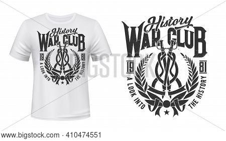 Wreath T-shirt Print Mockup, History War Club Vector Icon. Laurel Wreath And Warrior Swords With Rib