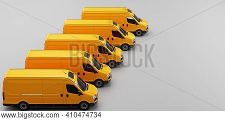 Fleet of van transportation trucks. Transport, shipping industry. 3D illustration
